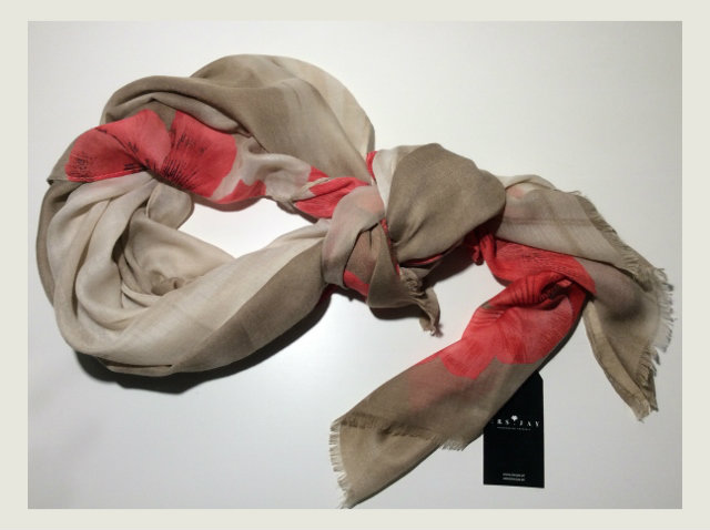 SCARF BIG FLOWER RED